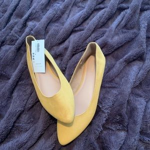 Mustard yellow rounded point toe flats
